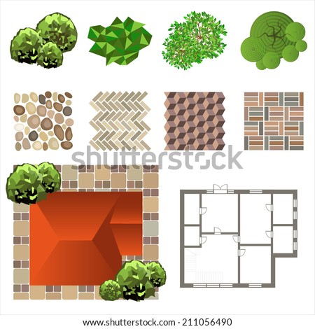 Detailed landscape design elements make your own plan top view stock vector illustration for Design your own landscape plan
