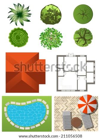 Detailed Landscape Design Elements Make Your Own Plan Top View Stock Vector Illustration