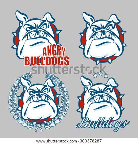 detailed logo set of bulldog