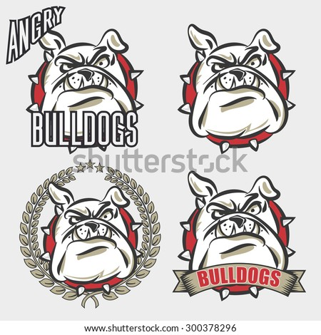 detailed logo set of bulldog