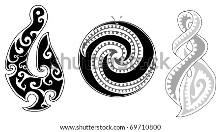 Detailed Maori koru (fern), eternity twist and fish hook - stock ...