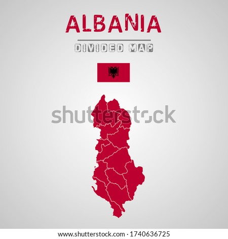 Detailed map of Albania with Regions. Map of Albania with States, Administrative division. Map of Albania with Regions.