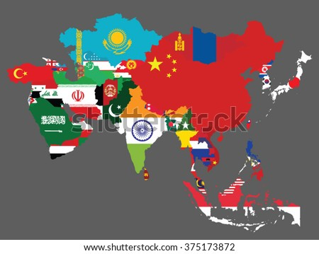Detailed map of Asia with all the countries flags inside their borders/Asian countries