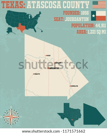 Detailed map of Atascos county in Texas, USA Foto stock ©