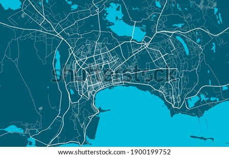 Detailed map of Baku city administrative area. Royalty free vector illustration. Cityscape panorama. Decorative graphic tourist map of Baku territory.
