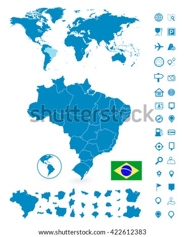 Detailed map of Brazil and World map navigation set. Vector illustration.