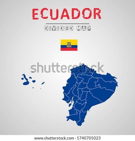 Detailed map of Ecuador with Regions. Map of Ecuador with States, Administrative division.