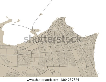 Detailed map of El Kuwait city administrative area. Royalty free vector illustration. Cityscape panorama. Decorative graphic tourist map of Kuwait territory.