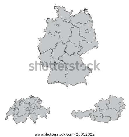 stock vector : Detailed Map of Germany, Switzerland, Austria