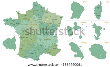 Detailed map of metropolis and overseas territories of France with administrative divisions into regions and departments, large cities of the country, vector illustration on a white background Photo stock ©