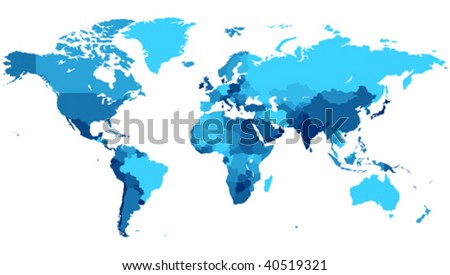 Detailed map of the World with countries in blue colors. Vector illustration.