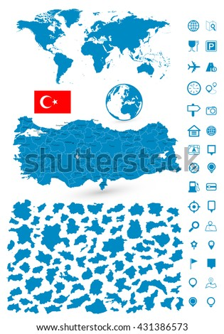 detailed map of turkey and