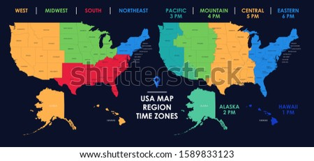 Detailed map of US regions and time zones, Colorful infographics of the United States of America, vector illustration Imagine de stoc ©