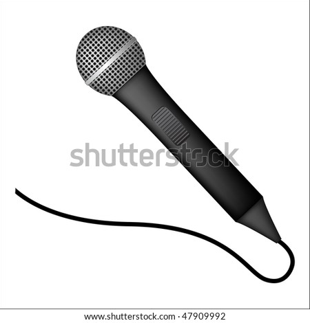 detailed microphone on white background - stock vector