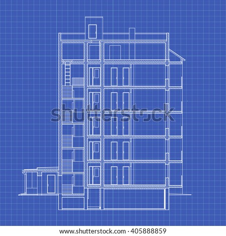 Detailed multi-storey building. Cross-section house. Vector blueprint. Stock photo ©