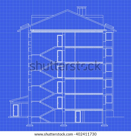 Detailed multi-storey building. Cross-section house. Vector blueprint. Architectural background. Stock photo ©