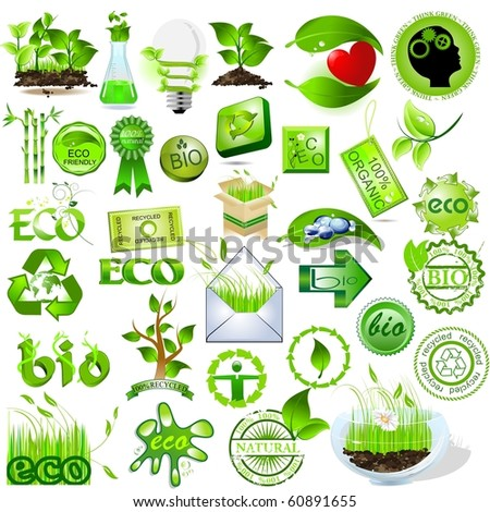 Detailed nature icons collection, eco and bio message