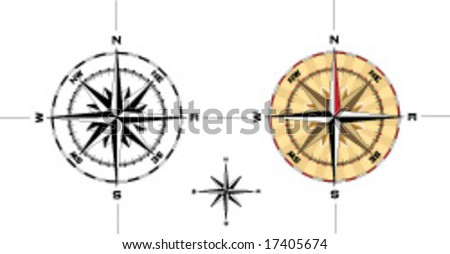 Detailed navigation compass illustration accurate to one degree - Vector Illustration