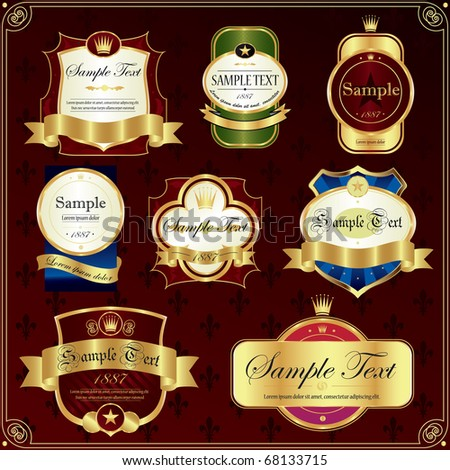 Detailed ornate various color label set.