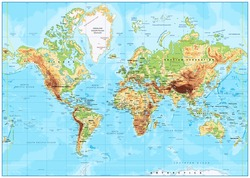 Detailed Physical World Map with labeling. Vector illustration.