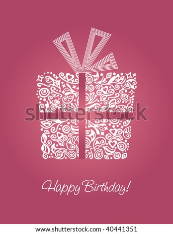Detailed Pink Happy Birthday Card Stock Vector 40441351