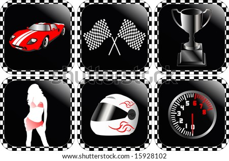 Detailed racing icons vector illustration