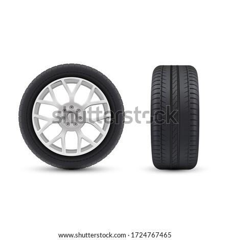 detailed realistic wheels set