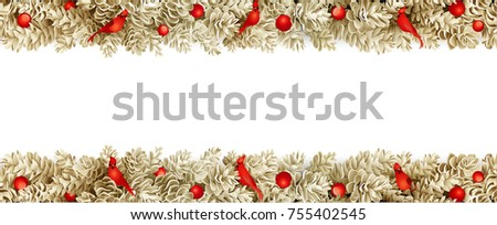 Detailed realistic wide christmas garland. Xmas border with fir cones isolated on white background. Vector decoration for holiday designs. #755402545