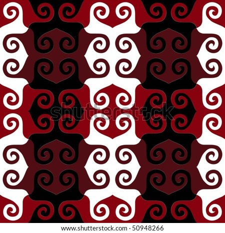 Detailed red,mauve, black and white tessellating spiral pattern (tile able)