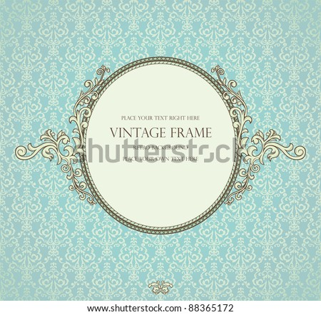 Detailed retro frame on repeating damask wallpaper