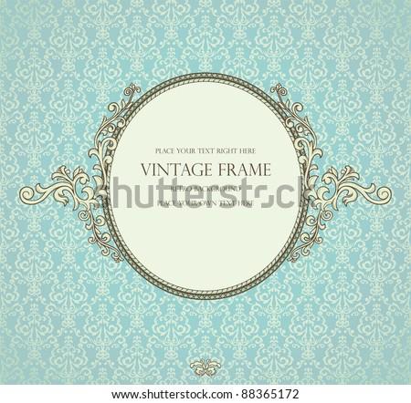 Detailed retro frame on repeating damask wallpaper