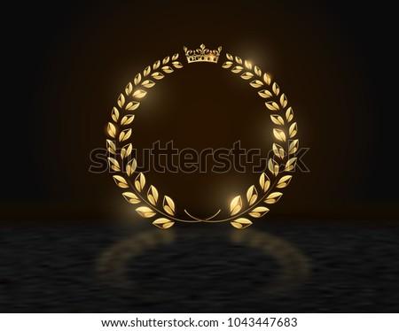 detailed round golden laurel