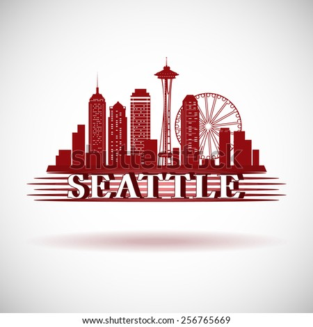 detailed seattle city skyline