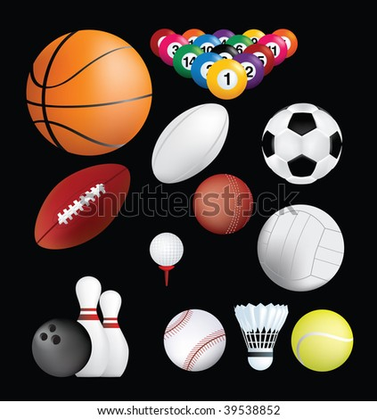 detailed set of sports ball on black background