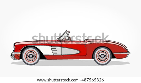 Detailed Side Of A Flat Red Convertible Car Cartoon With Black Stroke And  Shadow. Colored