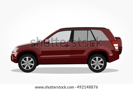 detailed side of a flat red maroon suv car cartoon vector with black stroke option for custom able color for kids drawing book.