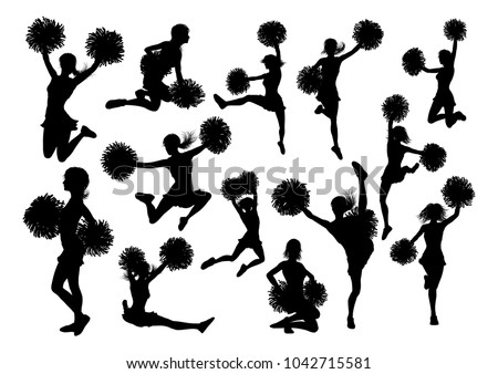 Detailed silhouette cheerleaders with pompoms ストックフォト ©
