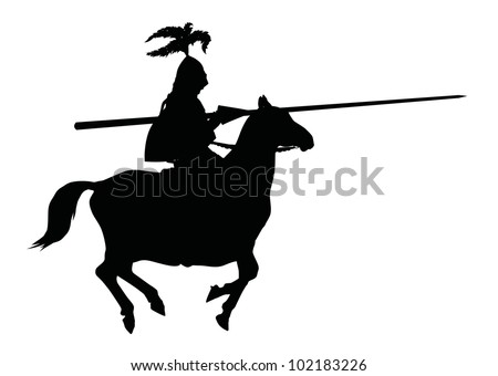 Detailed silhouette of knight with lance on horseback. Vector .