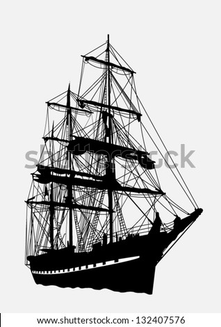 detailed silhouette of old ship