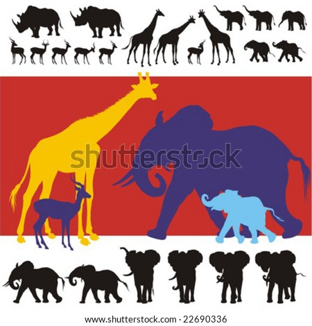 Detailed silhouettes of giraffes, rhinos, impalas and baby, young and adult elephants. All figures complete.