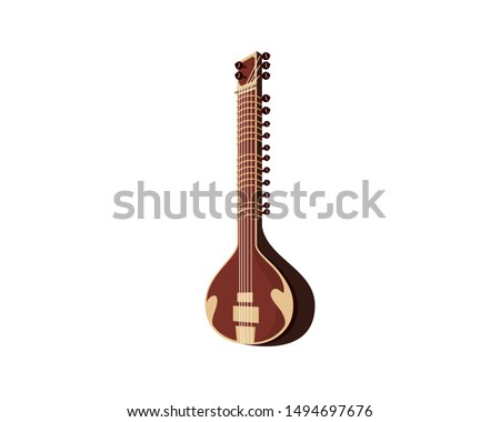 Detailed Sitar and India's String Musical Instrument Illustration