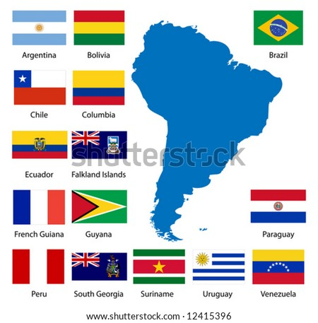 Detailed South American flags and map manually traced from public domain data.