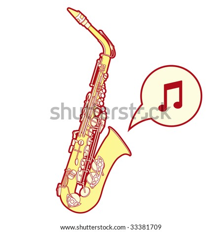 Detailed, stylized vector illustration of a saxophone, a brass musical instrument common in jazz bands and orchestras.