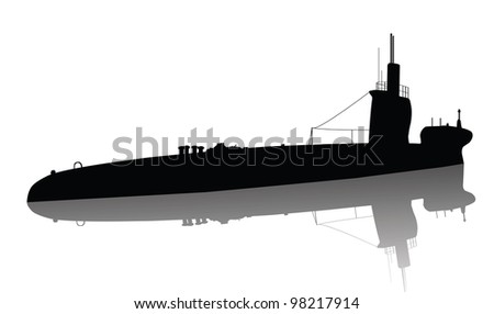 Detailed submarine silhouette. Vector
