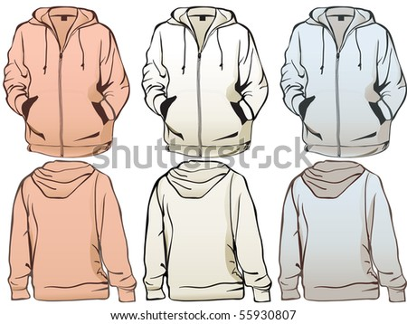 Detailed sweatshirts in easily editable separate layers