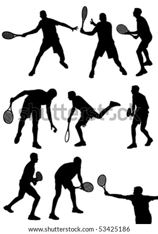 Detailed  tennis players silhouettes isolated on white