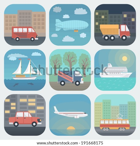 Detailed Transport App Icons Set in Trendy Flat Style