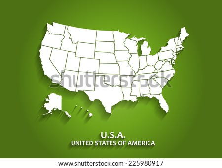 detailed usa map on green