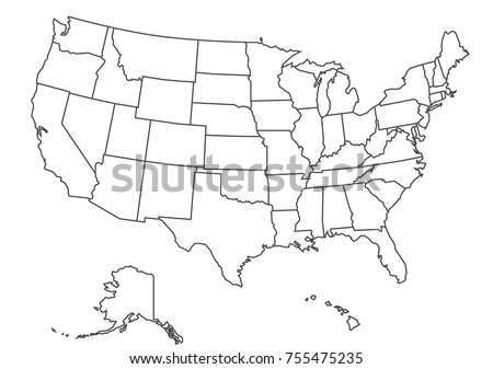 Detailed USA Map on Green Background with Shadows (EPS10 Vector)