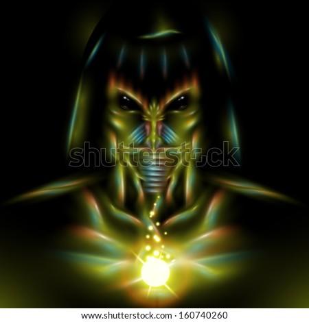 detailed vector alien assassin